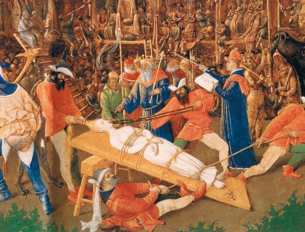 «Мученичество св. Аполлонии». Жан Фуке. Якобы около 1460 года. Считается, что святая Аполлония умерла мученическою смертью в царствование императора Деция в Александрии в 249 году н. э. При зубной боли люди прибегали к святой Аполлонии, так как ей, по сказанию, во время мучений были выбиты и зубы. Ее зубы во многих местах сохраняются как святыня [988:00]. Впрочем, не исключено, что св. Аполлония является отражением св. Аполлония, то есть Андроника-Христа. Мы неоднократно сталкивались с тем, что старинные авторы могли превращать – на бумаге – мужчин в женщин и наоборот. Взято из [643:2], с. 228–229, илл. 2.