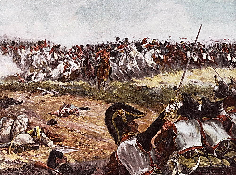 Illustration Depicting the Battle of Waterloo from a painting by Henri Georges Jacques Chartier